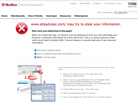 mcafee prank - site advisor may try to steal your information