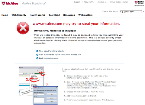 mcafee.com may try to steal your information